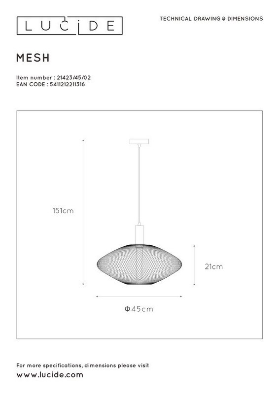 Lampa wisząca MESH - 21423/45/02