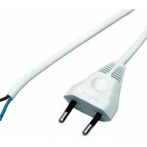 Przewód przyłączeniowy z wtyczką płaską OMYp 2x0,5 1,9m kolor biały - PP205_1_9M_BIALY