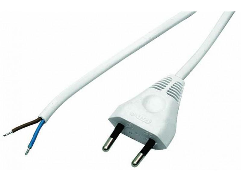 Przewód przyłączeniowy z wtyczką płaską OMYp 2x0,75 3,1m kolor biały - PP275_3_1_BIALY