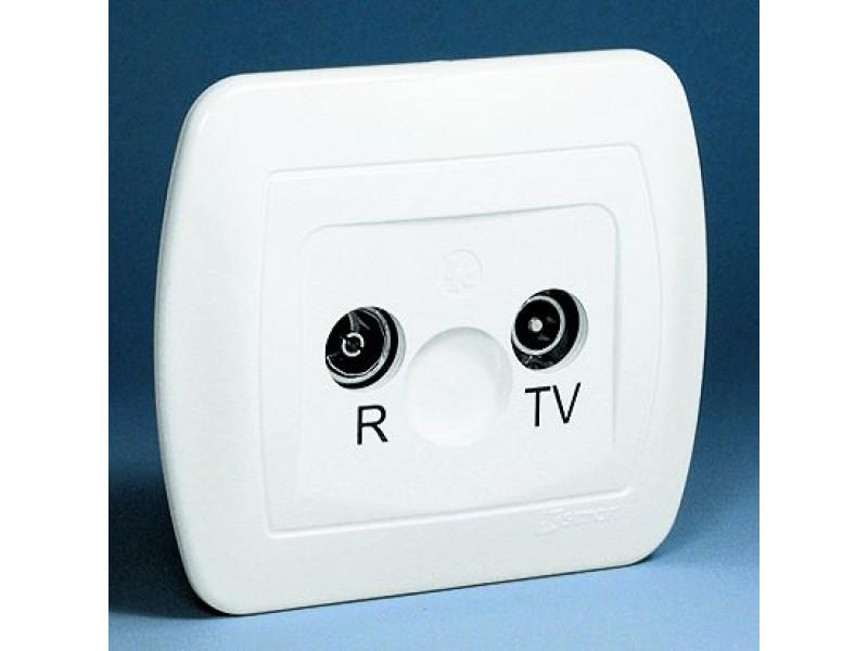 Gniazdo antenowe RTV przelotowe, tłumienie 10dB - AA10_11