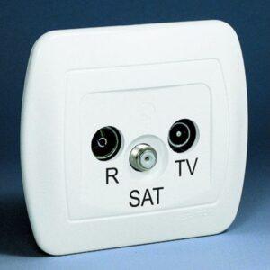 Gniazdo antenowe RTV-SAT przelotowe, tłumienie R 11dB; TV, SAT 10dB - AASP_12