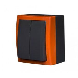 BRAVO Łącznik podwójny (świecznikowy) z podświetleniem n/t IP54 kolor pomarańcz - ŁNH-2BS.PM