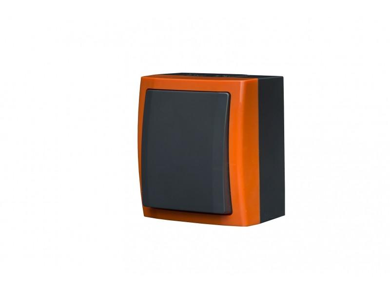 """BRAVO Przycisk """"światło"""" z podświetleniem n/t IP54 kolor pomarańcz - ŁNH-5BS.PM"""