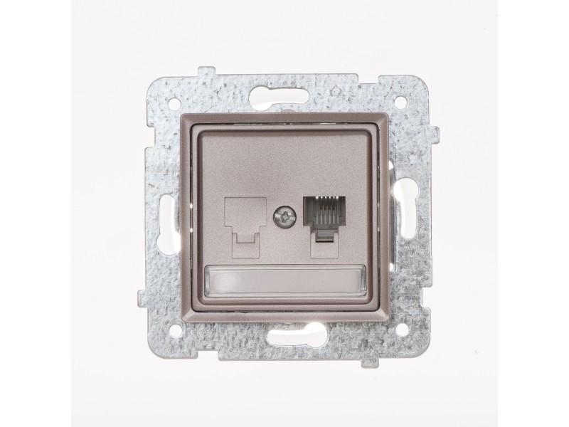 ROSA Gniazdo telefoniczne RJ11 pojedyncze bez ramki, kolor tytanowy metalik - GPT-1Q_M_TY