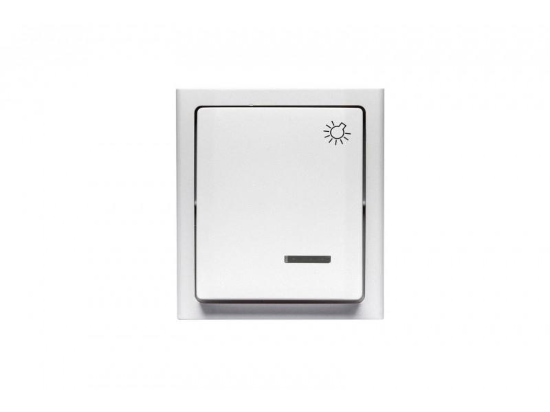"""BRAVO Przycisk """"światło"""" z podświetleniem n/t IP54 kolor biały - ŁNH-5BS.BI"""