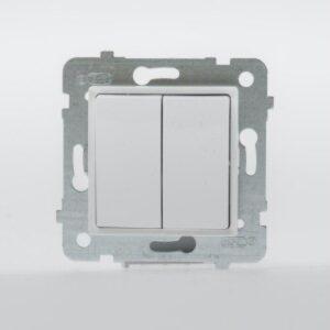 ROSA Przycisk podwójny bez ramki, kolor biały - LP-17Q/M.BI